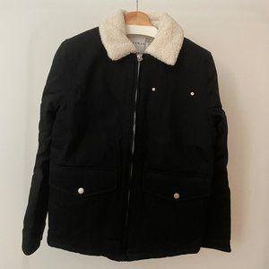 Topman Black & White Shearling Jacket